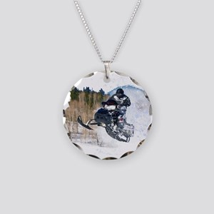 Airborne Snowmobile Necklace Circle Charm