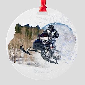 Airborne Snowmobile Round Ornament