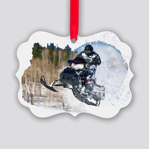 Airborne Snowmobile Picture Ornament