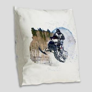 Airborne Snowmobile Burlap Throw Pillow