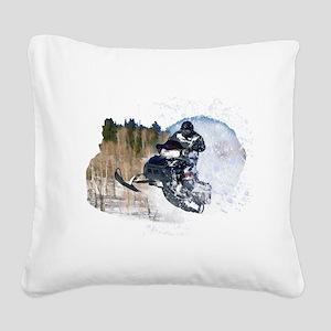 Airborne Snowmobile Square Canvas Pillow