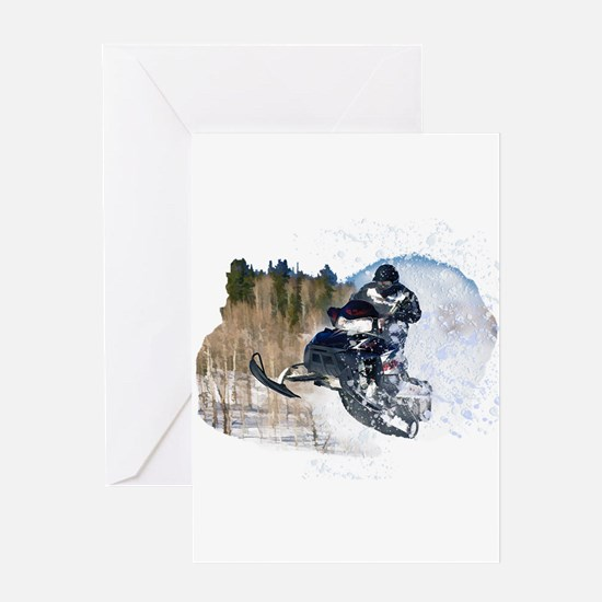 Airborne Snowmobile Greeting Cards