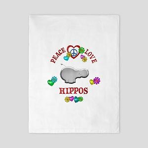 Peace Love Hippos Twin Duvet