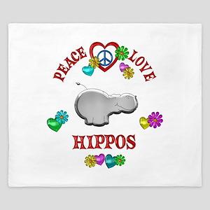 Peace Love Hippos King Duvet