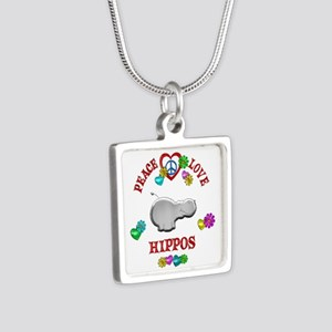 Peace Love Hippos Silver Square Necklace
