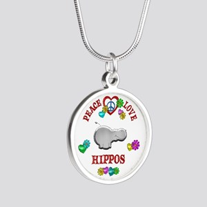 Peace Love Hippos Silver Round Necklace