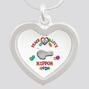 Peace Love Hippos Silver Heart Necklace