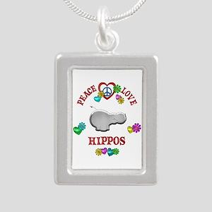 Peace Love Hippos Silver Portrait Necklace
