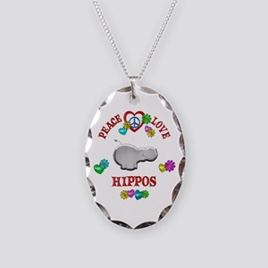 Peace Love Hippos Necklace Oval Charm