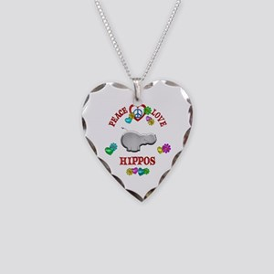 Peace Love Hippos Necklace Heart Charm