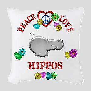 Peace Love Hippos Woven Throw Pillow