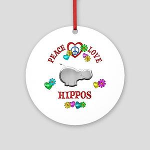 Peace Love Hippos Ornament (Round)
