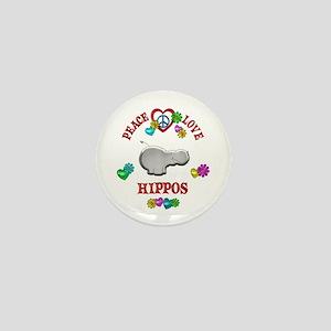 Peace Love Hippos Mini Button