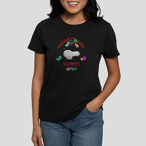 Peace Love Hippos Women's Dark T-Shirt