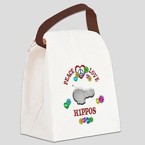 Peace Love Hippos Canvas Lunch Bag