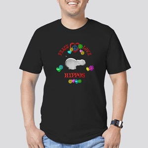 Peace Love Hippos Men's Fitted T-Shirt (dark)