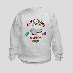 Peace Love Hippos Kids Sweatshirt