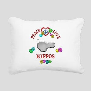Peace Love Hippos Rectangular Canvas Pillow