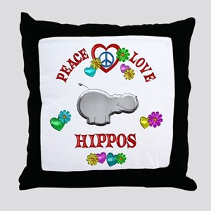 Peace Love Hippos Throw Pillow