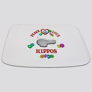 Peace Love Hippos Bathmat