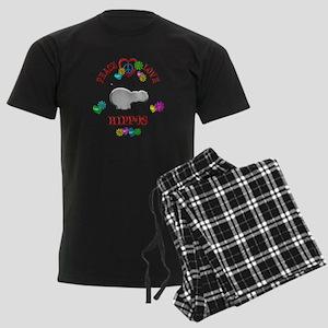 Peace Love Hippos Men's Dark Pajamas