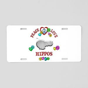 Peace Love Hippos Aluminum License Plate