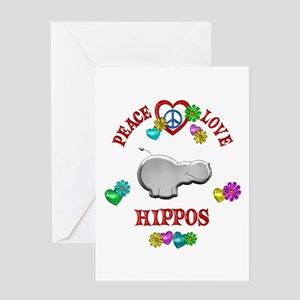 Peace Love Hippos Greeting Card