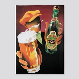Beer Vintage Art 5'x7'area Rug