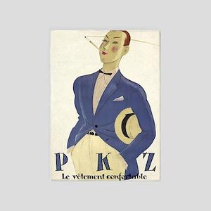 Flamboyant Male Model; Vintage Art 5'x7'area Rug