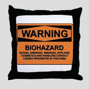 Biohazard - warning - 5 Throw Pillow