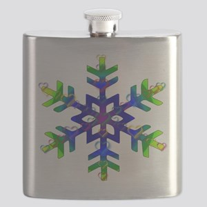 Blue and Green Bubble Snowflake Flask