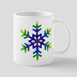 Blue and Green Bubble Snowflake 11 oz Ceramic Mug