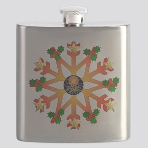 Cheerful Orange and Green Snowflake Flask