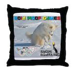 SnowBoarding WOOF Games 2014 Throw Pillow