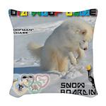 SnowBoarding WOOF Games 2014 Woven Throw Pillow