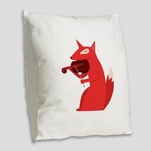 Music Fox Burlap Throw Pillow