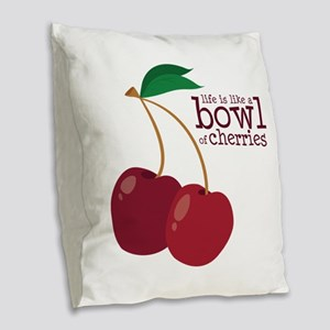 Bowl Of Cherries Burlap Throw Pillow