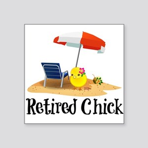 Retired Chick - fun in the sun Sticker