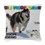 Snow-Shoeing WOOF Games 2014 Woven Throw Pillow