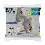 Husky Hurdle WOOF Games 2014 Woven Throw Pillow