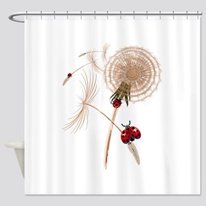 DANDELION and Hitchhicking ladybugs Shower Curtain
