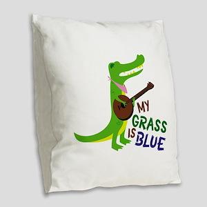 Grass Is Blue Burlap Throw Pillow