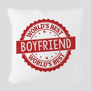 World's Best Boyfriend Woven Throw Pillow
