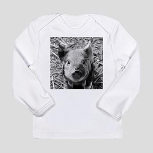 Sweet Piglet,black white Long Sleeve T-Shirt