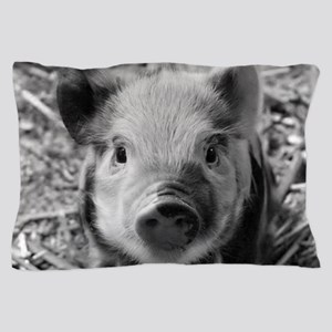Sweet Piglet,black white Pillow Case