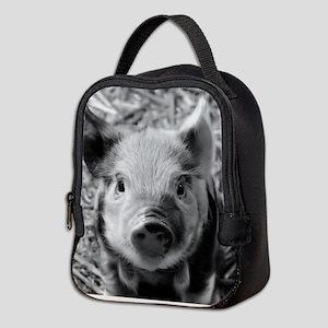 Sweet Piglet,black white Neoprene Lunch Bag