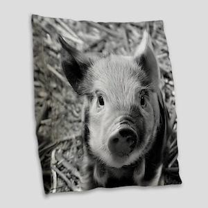 Sweet Piglet,black white Burlap Throw Pillow