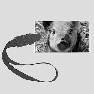 Sweet Piglet,black white Large Luggage Tag