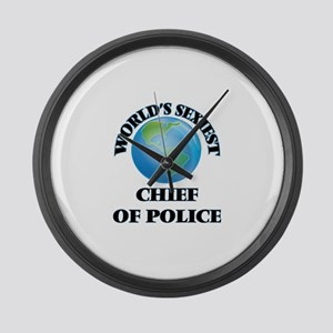 World's Sexiest Chief Of Police Large Wall Clock