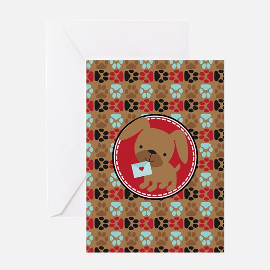 Pawprint Puppy Pattern Greeting Cards